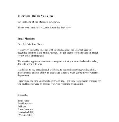 Sample of thank you email after interview 1
